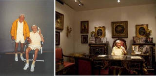 (left) Photograph of Sir Arthur Gilbert and his wax figure, about 2000 (right) Photograph of Arthur's Office, 2008, Somerset House Gilbert Museum, London. © The Rosalinde and Arthur Gilbert Collection on loan to the Victoria and Albert Museum, London