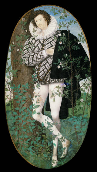 Young Man Among Roses, portrait miniature, Nicholas Hilliard, England, about 1590. Museum no. P.163-1910. © Victoria and Albert Museum, London