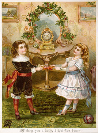 Christmas card showing a boy and girl pulling a cracker, about 1880, England. Museum no. E.2669:357-1953. © Victoria and Albert Museum, London