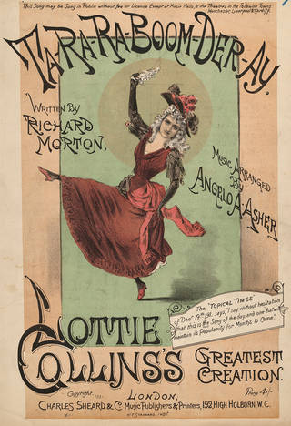 Cover from sheet music  for Ta-Ra-Ra-Boom-Der-Ray with Lottie Collins, about 1891, England. Museum no. S.4105-2009. © Victoria and Albert Museum, London.
