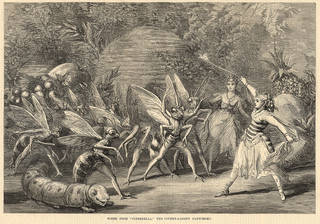 Newspaper illustration of a scene from Cinderella at the Theatre Royal, Drury Lane, from The Illustrated Sporting and Dramatic News, 1875, England. © Victoria and Albert Museum, London