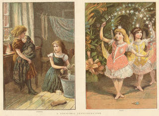 A Christmas Transformation, illustration from The Publisher magazine, 1881, England. © Victoria and Albert Museum, London