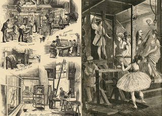 Left to right: newspaper illustration showing preparation for the pantomime at Drury Lane Theatre, The Publisher magazine, 1874, England. © Victoria and Albert Museum, London. Newspaper illustration showing a 'star trap', late 19th century. © Victoria and Albert Museum, London