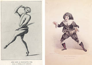 Left to right: photolithograph of the actor-manager John Rich as Harlequin, from an etching of 1753, England. © Victoria and Albert Museum, London. Vignette of Joseph Grimaldi the English clown as Scaramouche, 19th century, England. Museum no. S.1381-2009. © Victoria and Albert Museum, London