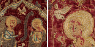 Left to right: Panel depicting the Life of the Virgin, 1335 – 45, England. Museum nos 8128 to 8128b-1863.  © Victoria and Albert Museum, London. Panel from a burse, 1335 – 45, England. Museum no. T.2-1940.  © Victoria and Albert Museum, London
