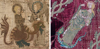 Left to right: The Steeple Aston Cope (detail showing St Margaret and the dragon), 1330 – 1340, England. Loan: Steeple Aston.2. © Victoria and Albert Museum, London. The Butler-Bowdon Cope (detail showing St Margaret 'transfixing' the dragon), 1330 – 50, weaving Italy, embroidery England. Museum no. T.36-1955. © Victoria and Albert Museum, London