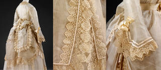 Wedding dress (details), 1872, probably Britain. Museum no. T.68 to 68B-1962. © Victoria and Albert Museum, London