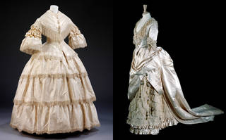 (left) Wedding dress, 1857, England. Museum no. T.10A&B-1970. © Victoria and Albert Museum, London. (right) Wedding dress, bodice and skirt, Gladman & Womack, about 1885, England. Museum no. T.428&A-1990. © Victoria and Albert Museum, London