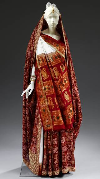 Panetar and Gharchola saris worn by Anjali Bulley, 1998, England. Museum no. LOAN:LOAN:Anjali Bulley. © Victoria & Albert Museum, London