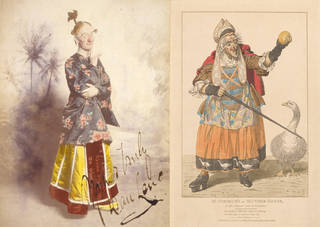 Left to right: Dan Leno as Widow Twankey in Aladdin at the Drury Lane Theatre, 1896, England. © Victoria and Albert Museum, London. Samuel Simmons as Mother Goose in Mother Goose, or the Golden Egg, Covent Garden Theatre, 1806. Published by S. De Wilde, 1807, Harry Beard Collection