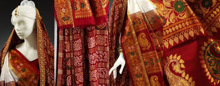 Panetar and Gharchola saris worn by Anjali Bulley (details), 1998, England. Museum no. LOAN:Anjali Bulley. © Victoria & Albert Museum, London