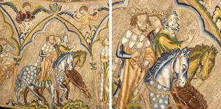 Details from the Bologna Cope showing the Journey of the Magi, 1310 – 20, England. © Museo Civico Medievale, Bologna