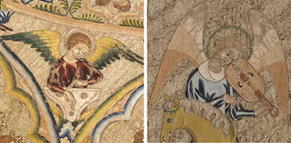 Left to right: The Bologna Cope (detail), 1310 – 20, England. © Museo Civico Medievale, Bologna. The Steeple Aston Cope (detail), 1330 – 1340, England. Loan: Steeple Aston.2. © Victoria and Albert Museum, London