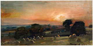 Photo of A Hayfield near East Bergholt at Sunset, John Constable, 1812, England. Museum no. 121-1888. © Victoria and Albert Museum, London