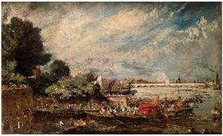 Photo of The State Opening of Waterloo Bridge from Whitehall Stairs, John Constable, about 1819, England. Museum no. 322-1888. © Victoria and Albert Museum, London