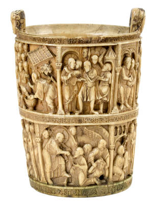 Photo of The Basilewsky Situla, holy water bucket, 980 – 1, Italy. Museum no. A.18-1933. © Victoria and Albert Museum, London