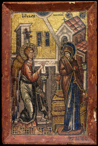 Photo of The Annunciation, mosaic, about 1320, Turkey. Museum no. 7231-1860. © Victoria and Albert Museum, London