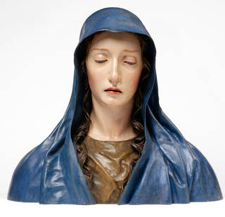 Photo of The Virgin of Sorrows, bust, José de Mora, about 1680 – 1700, Spain. Museum no. 1284-1871. © Victoria and Albert Museum, London