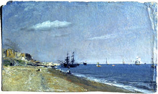 Brighton Beach With Colliers, oil painting, John Constable, 1824, England. Museum no. 591-1888. © Victoria and Albert Museum, London