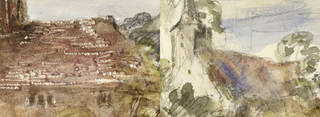 A farmhouse and church at Houghton, Sussex (details), watercolour, John Constable, 1834, England. Museum no. 211-1888. © Victoria and Albert Museum, London