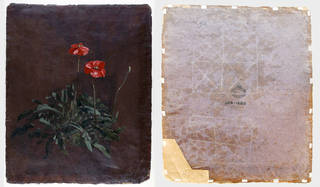 Left to right: Study of Poppies (front), oil painting, John Constable, 1832, England. Museum no. 329-1888. Study of poppies (back), oil painting, John Constable, 1832, England. Museum no. 329-1888 © Victoria and Albert Museum, London