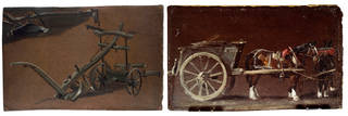 Left to right: A Study of Two Ploughs, John Constable, 1814. Museum no. 789-1888. Study of a Cart with Two Horses, John Constable, 1814. Museum no. 333-1888. © Victoria and Albert Museum, London