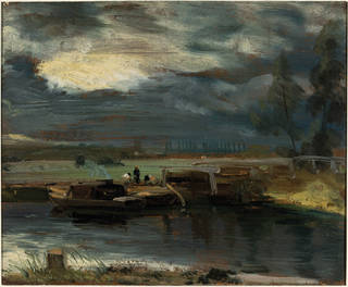 Barges on the Stour, with Dedham Church in the Distance, oil painting, John Constable, 1811, England. Museum no. 325-1888. © Victoria and Albert Museum, London