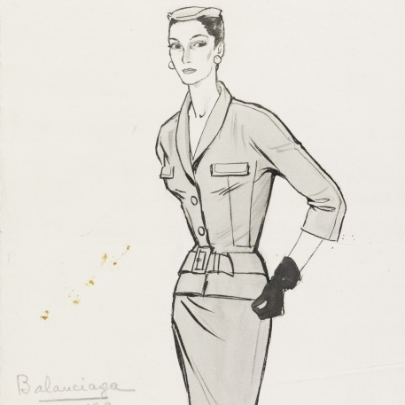 Balenciaga suit, fashion illustration
