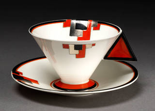 Photo of Cup and saucer, designed by Eric Slater, made by Shelley Potteries, 1930 – 1931, England. Museum no. C.162:1&2-2003. © Victoria and Albert Museum, London