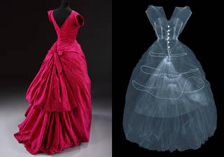 Left to right: Silk taffeta evening dress, Cristóbal Balenciaga, 1955, Paris, France. Museum no. T.427-1967. © Victoria and Albert Museum, London. X-ray photograph of silk taffeta evening dress by Cristóbal Balenciaga. X-ray by Nick Veasey, 2016. © Nick Veasey