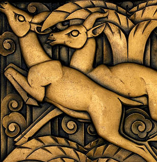 Photo of Frieze panel (detail), designed by Walter Gilbert, made by Bromsgrove Guild of Applied Art, 1933, England. Museum no. M.262-1984. © Victoria and Albert Museum, London