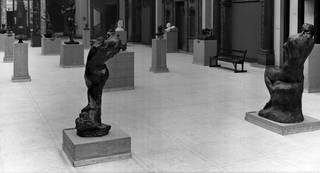 View of the V&A West Hall showing the Rodin gift of sculptures, 1914. © Victoria and Albert Museum, London