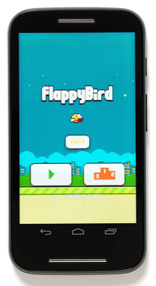 Photo of Flappy Bird, mobile application, programmed by Dong Nguyen, developed by GEARS Studios, 2014, Vietnam. Museum no. CD.27-2014. © Victoria and Albert Museum, London