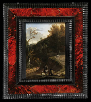 Photo of Cassetta Frame, tortoiseshell with rippled ebony, 1640 – 1700, Belgium. Museum no. 4837 – 1857.  © Victoria and Albert Museum, London