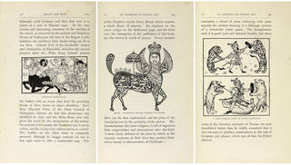 Left to right: 'Maheswar Fighting Kali' from John Lockwood Kipling, Beast and Man in India, p.176. London: Macmillan and Co., 1891. © Bruce White, Bard Graduate Center. 'Borak. Calligraphic Picture Composed of Prayers' from John Lockwood Kipling, Beast and Man in India, p.363. London: Macmillan and Co., 1891. © Bruce White, Bard Graduate Center. 'A Punjab Heroine (from an Indian lithograph)' from John Lockwood Kipling, Beast and Man in India, p.381. London: Macmillan and Co., 1891. © Bruce White, Bard Graduate Center.