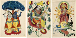 Left to right: 'Krishna and Balarama', unknown artist, about 1855-60, Kalighat, Kolkata, opaque watercolour and silver on paper. Museum no. IM.2:76-1917. © Victoria and Albert Museum, London; 'Saraswati', unknown artist, about 1855-60, Kalighat, Kolkata, opaque watercolour and tin alloy on paper. Museum no. IM.2:77-1917. © Victoria and Albert Museum, London; 'Durga and Masishasura', unknown artist, about 1855-60, Kalighat, Kolkata, opaque watercolour on paper. Museum no. IM.2:79-1917. © Victoria and Albert Museum, London