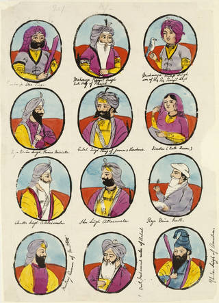 Twelve heroes of the Sikhs, unknown artist, about 1870, possibly Lahore or Amritsar, opaque watercolour and silver on paper. Museum no. IM.2:119-1917. © Victoria and Albert Museum, London
