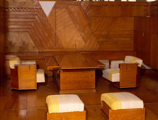 Photo of Kaufmann Office (detail), panelled room, Frank Lloyd Wright, 1935 – 37, US. Museum no. W.9:1 to 240-1974. © Victoria and Albert Museum, London