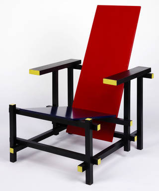 Photo of The Red Blue Chair, armchair, designed by Gerrit Thomas Rietveld, made by Gerard A. van der Groenekan, 1918, Netherlands. Museum no. CIRC.367-1970. © Victoria and Albert Museum, London