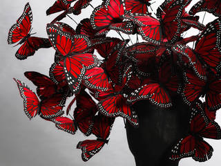 Butterfly headdress, Philip Treacy for Alexander McQueen, La Dame Bleue, Spring/Summer 2008, Britain. Image © Victoria and Albert Museum, London/Courtesy of Alexander McQueen