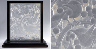 Blackbirds and grapes (details), panel, designed by René Jules Lalique, made by Lalique glassworks, 1928, France. Museum no. C.53-1978. © Victoria and Albert Museum, London