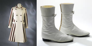 Left to right: Coat, André Courrèges, 1967, France. Museum no. T.102-1974. © Victoria and Albert Museum, London. Leather ankle boots, André Courrèges, 1965, France. Museum no. T.109&A-1974. © Victoria and Albert Museum, London