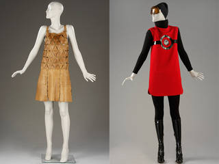 Left to right: Mini-dress, Paco Rabanne, 1968, France. Museum no.  T.99-1988. © Victoria and Albert Museum, London. 'Cosmos' day ensemble, Pierre Cardin, 1967, France. Musuem no. T.75-T.75F-1974. © Victoria and Albert Museum, London