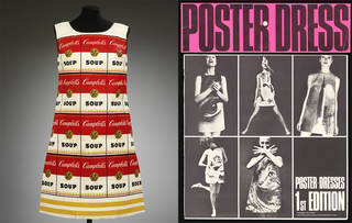 Left to right: The Souper Dress, 1966. Photograph © Kerry Taylor Auctions. Poster dress, designed by Harry Gordon, 1968, London. Museum no. E.375-2011. © Victoria and Albert Museum, London