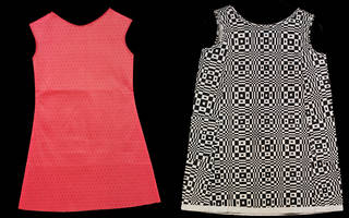 Left to right: diaper-pattern paper dress, unknown, about 1967, probably UK. Museum no. T.137-1995. © Victoria and Albert Museum, London. Op-art paper dress, Scott Paper Company, 1966, US. Museum no. T.30-1992. © Victoria and Albert Museum, London