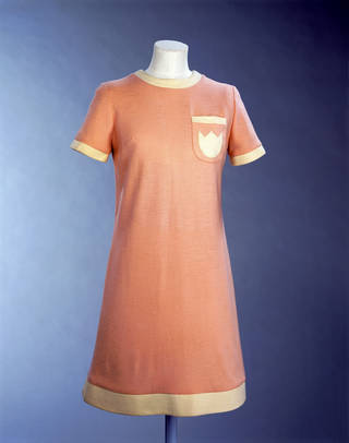 Photo of Jersey mini dress, Mary Quant, about 1967, England. Museum no. T.86-1982. © Victoria and Albert Museum, London