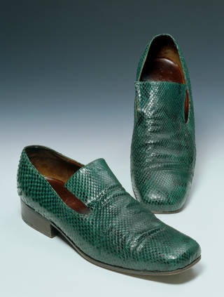 Photo of Men's lizard skin shoes, designed by Mandy Wilkins and Richard Smith for Chelsea Cobbler, 1968 – 9, England. Museum no. T.491-1985. © Victoria and Albert Museum, London
