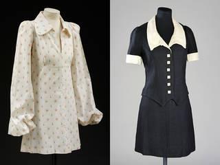 Left to right: Mini-dress, Biba, 1969, England. Museum no. T.10-1982. © Victoria and Albert Museum, London. Skirt suit, Biba, 1968, England. Museum no. T.170, 171-1995. © Victoria and Albert Museum, London