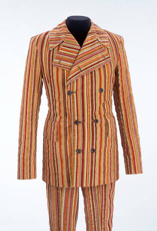 Photo of Double-breasted corduroy suit, designed by Mr Fish, made by Hexter, about 1968, England. Museum nos T.310/T.310A-1979. © Victoria and Albert Museum, London
