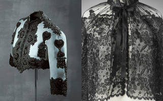 Left to right: Bolero jacket, Balenciaga for EISA, 1947, Spain. © Museo Cristóbal Balenciaga. Lace cape, Cristóbal Balenciaga, about 1960, Paris. Museum no. T.141-1982. © Victoria and Albert Museum, London
